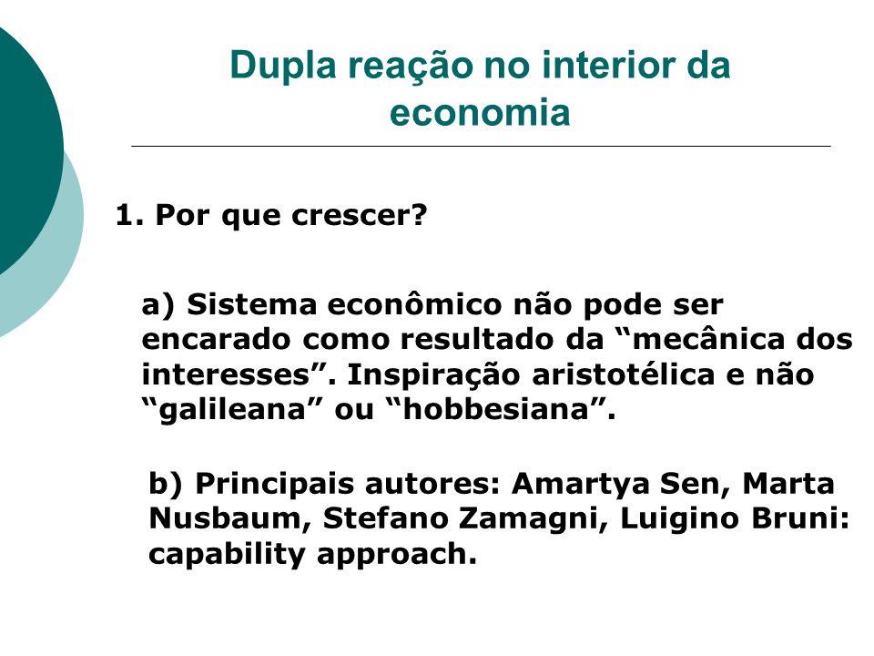 Dupla reação no interior da economia 1. Por que crescer? a) Sistema econômico não pode ser encarado como resultado da mecânica dos interesses. Inspira