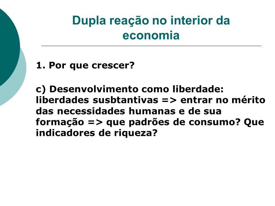 Dupla reação no interior da economia 1. Por que crescer? c) Desenvolvimento como liberdade: liberdades susbtantivas => entrar no mérito das necessidad