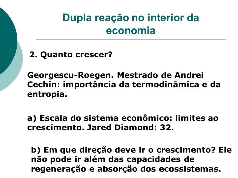 Dupla reação no interior da economia 2. Quanto crescer? Georgescu-Roegen. Mestrado de Andrei Cechin: importância da termodinâmica e da entropia. a) Es