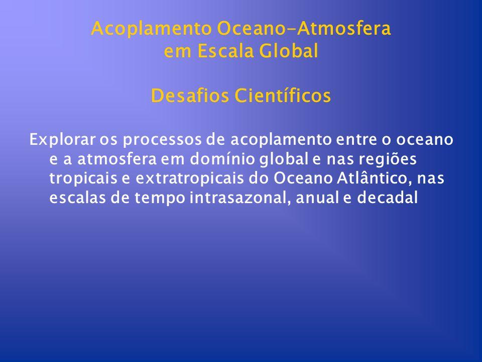 Acoplamento Oceano-Atmosfera em Escala Global Desafios Científicos Explorar os processos de acoplamento entre o oceano e a atmosfera em domínio global