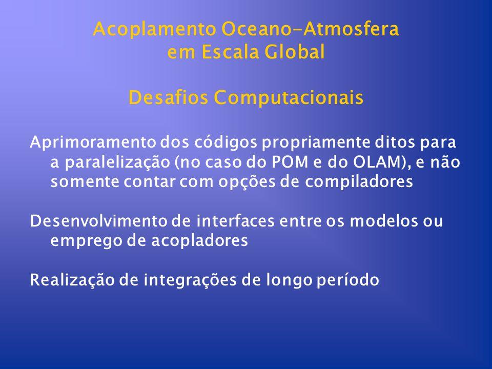 Acoplamento Oceano-Atmosfera em Escala Global Desafios Computacionais Aprimoramento dos códigos propriamente ditos para a paralelização (no caso do PO