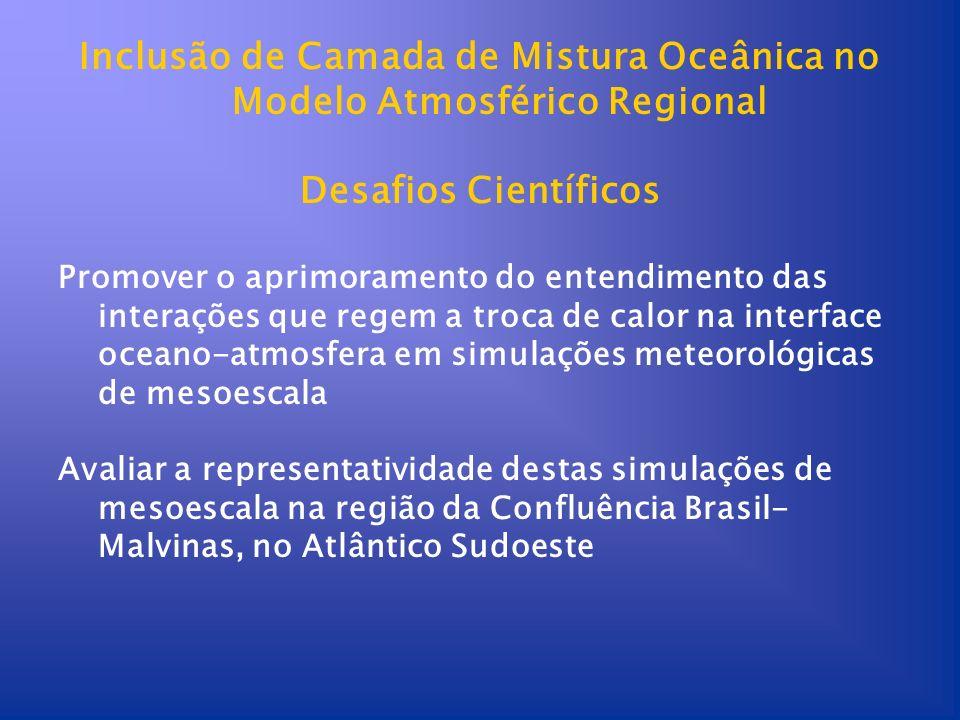 Inclusão de Camada de Mistura Oceânica no Modelo Atmosférico Regional Desafios Científicos Promover o aprimoramento do entendimento das interações que