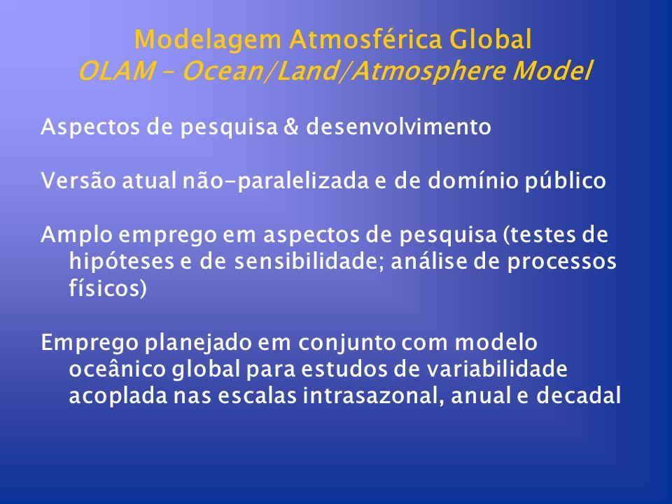 Modelagem Atmosférica Global OLAM – Ocean/Land/Atmosphere Model Aspectos de pesquisa & desenvolvimento Versão atual não-paralelizada e de domínio públ