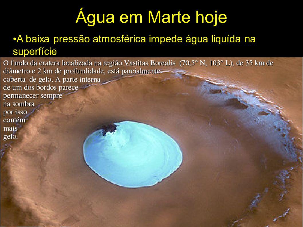 Água em Marte hoje A baixa pressão atmosférica impede água liquída na superfície