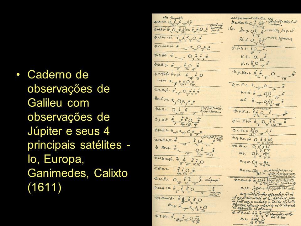 Caderno de observações de Galileu com observações de Júpiter e seus 4 principais satélites - Io, Europa, Ganimedes, Calixto (1611)