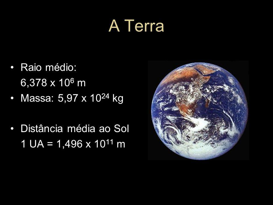 A Terra Raio médio: 6,378 x 10 6 m Massa: 5,97 x 10 24 kg Distância média ao Sol 1 UA = 1,496 x 10 11 m