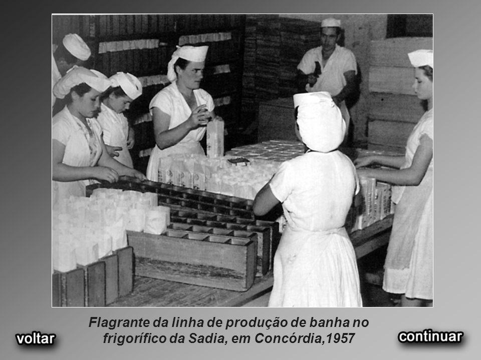 Flagrante da linha de produção de banha no frigorífico da Sadia, em Concórdia,1957