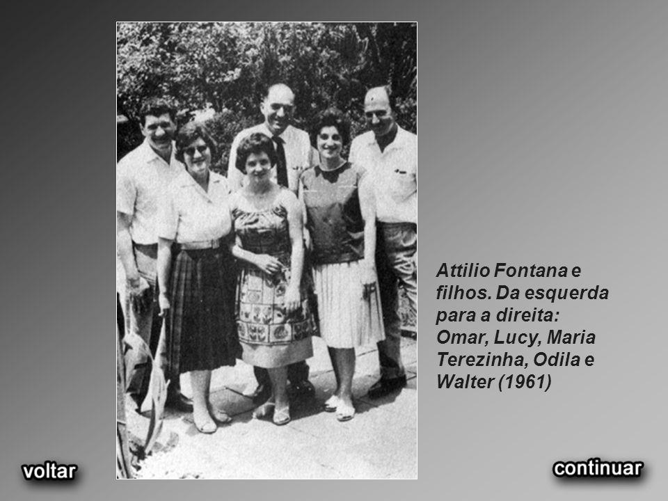 Attilio Fontana e filhos. Da esquerda para a direita: Omar, Lucy, Maria Terezinha, Odila e Walter (1961)