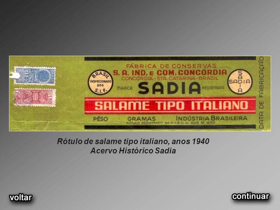 Rótulo de salame tipo italiano, anos 1940 Acervo Histórico Sadia