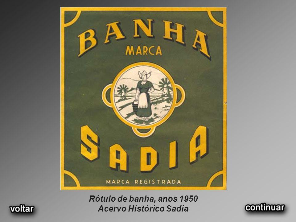 Rótulo de banha, anos 1950 Acervo Histórico Sadia