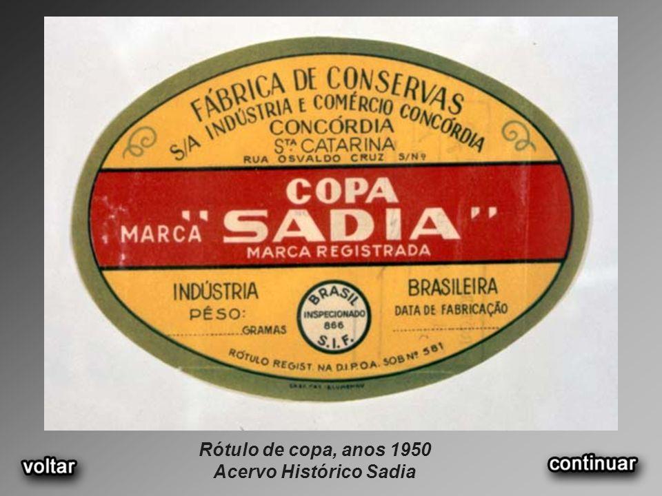 Rótulo de copa, anos 1950 Acervo Histórico Sadia