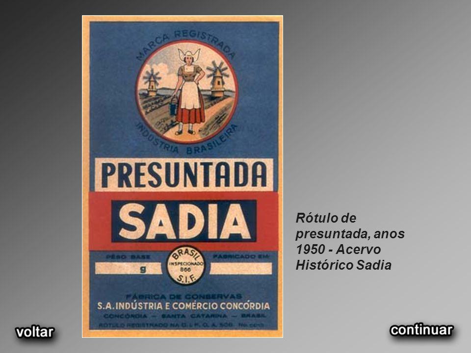 Rótulo de presuntada, anos 1950 - Acervo Histórico Sadia
