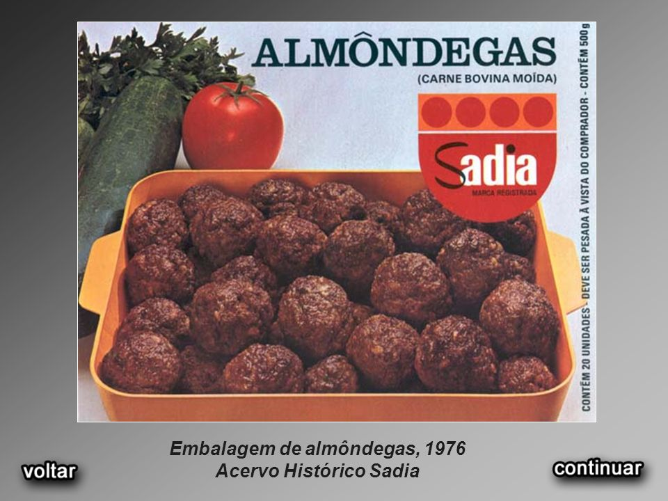Embalagem de almôndegas, 1976 Acervo Histórico Sadia