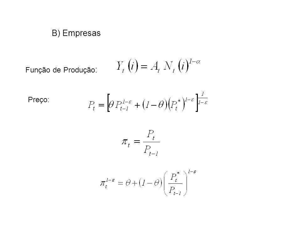 B) Empresas Preço: Função de Produção :