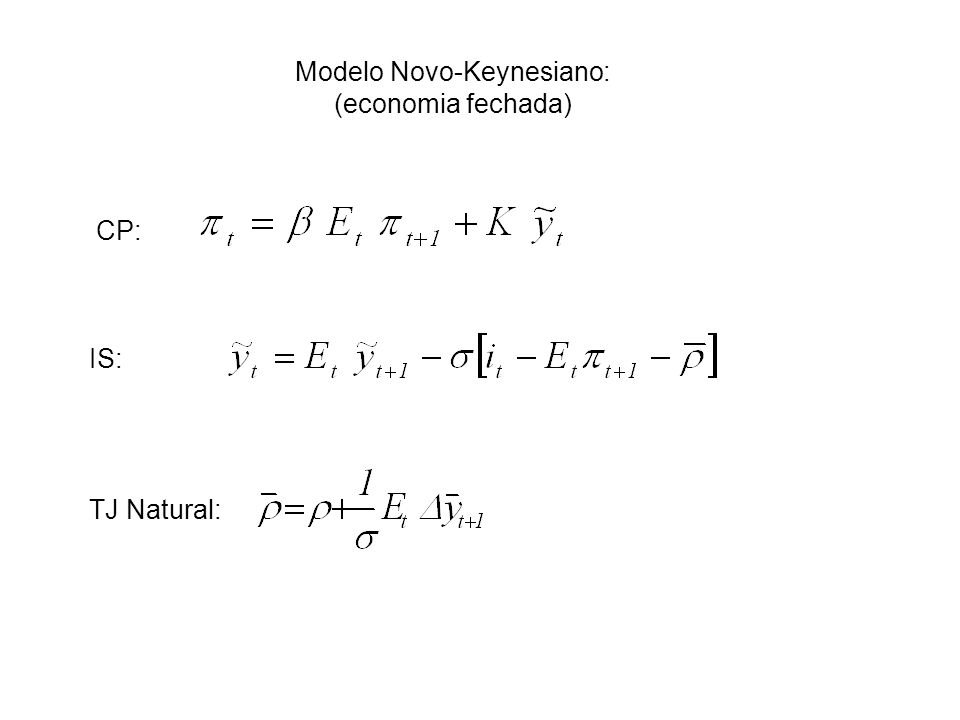 Modelo Novo-Keynesiano: (economia fechada) CP: IS: TJ Natural: