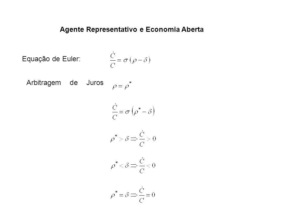 Agente Representativo e Economia Aberta Arbitragem de Juros Equação de Euler: