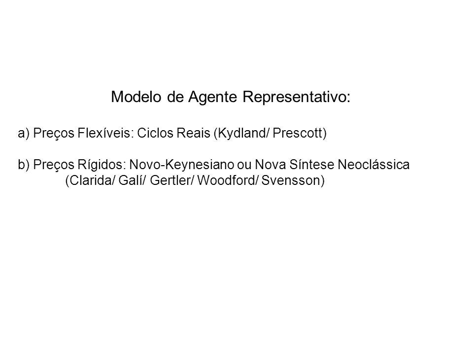 Modelo de Agente Representativo: a) Preços Flexíveis: Ciclos Reais (Kydland/ Prescott) b) Preços Rígidos: Novo-Keynesiano ou Nova Síntese Neoclássica