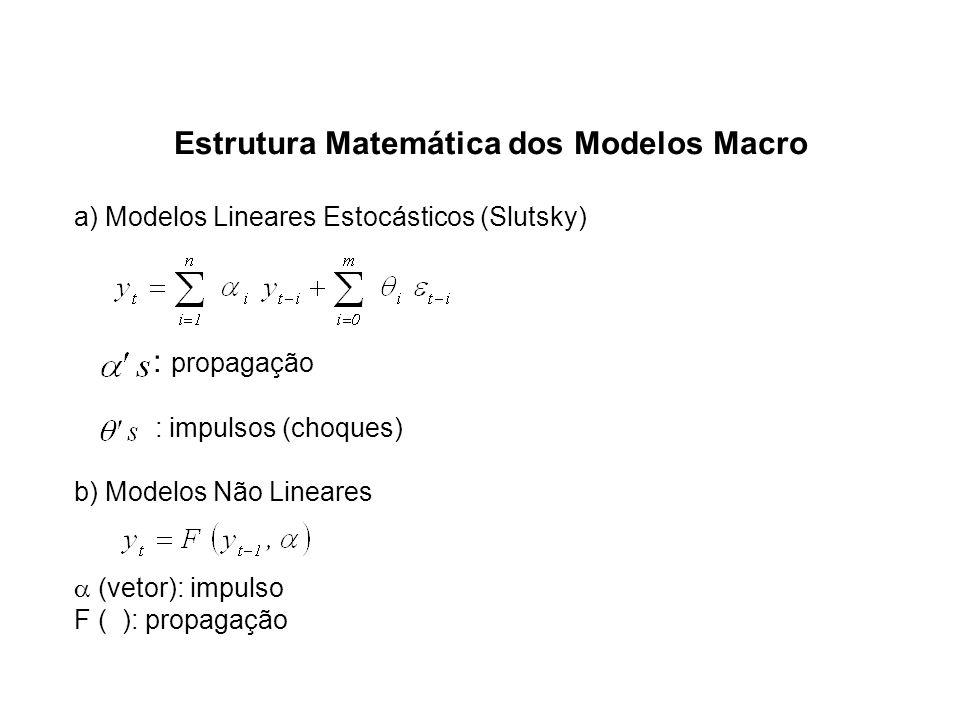 Estrutura Matemática dos Modelos Macro a) Modelos Lineares Estocásticos (Slutsky) : propagação : impulsos (choques) b) Modelos Não Lineares (vetor): i