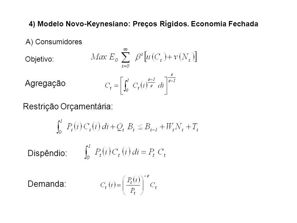 Agregação : Restrição Orçamentária: Dispêndio: Demanda: 4) Modelo Novo-Keynesiano: Preços Rígidos. Economia Fechada A) Consumidores Objetivo: