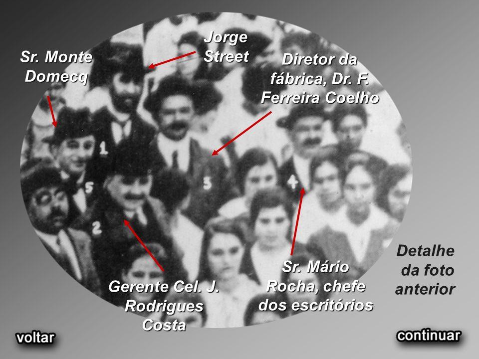 Jorge Street Sr. Monte Domecq Diretor da fábrica, Dr. F. Ferreira Coelho Detalhe da foto anterior Sr. Mário Rocha, chefe dos escritórios Gerente Cel.