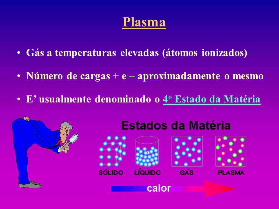 Plasma Gás a temperaturas elevadas (átomos ionizados) Número de cargas + e – aproximadamente o mesmo E usualmente denominado o 4 o Estado da Matéria