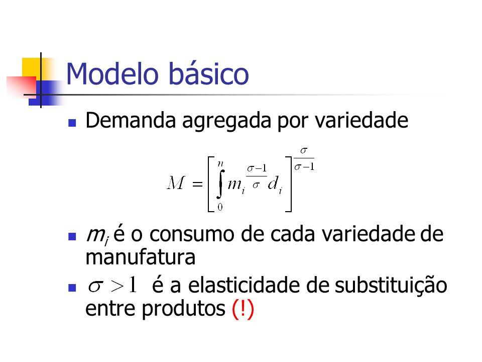 Modelo básico Custo de vida (IPC) p i é o preço de m i Se p i = p m para todo i Mais variedades, menor custo de vida