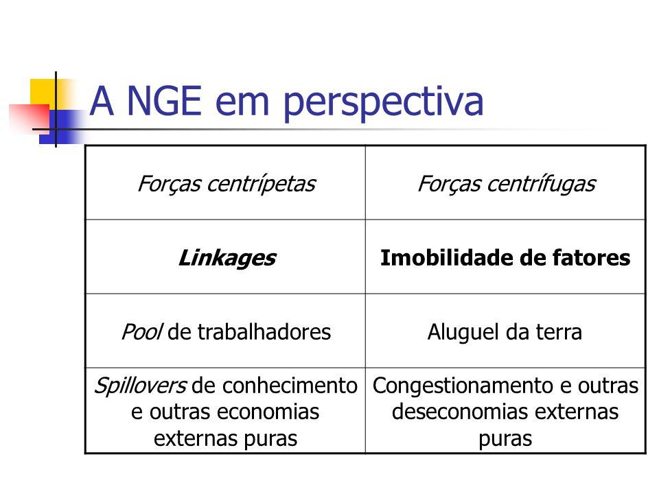 A NGE em perspectiva Poucos trabalhos empíricos Simulações Relevância para análise de política.