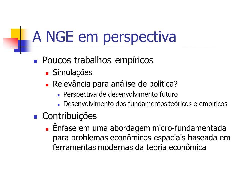 O futuro da NGE Extensão do menu teórico Estudos empíricos Implicações de bem-estar e de política Modelos quantificáveis Modelos ajustados para economias hipotéticas (not fitted to actual data [?]) EGC espacial