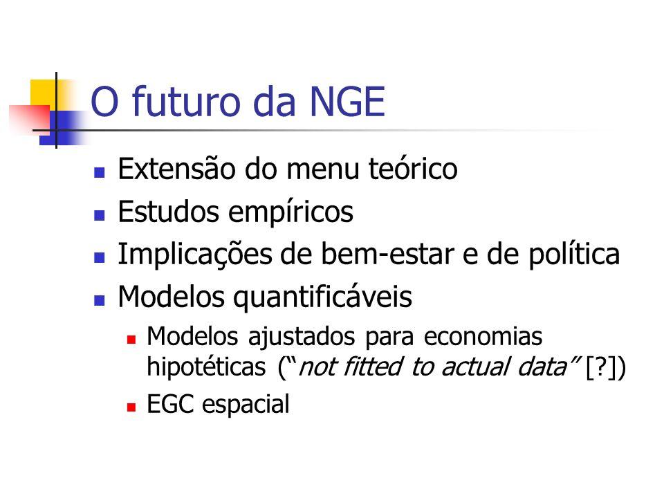 O futuro da NGE Teoria pura Teoria aplicada Práticas operacionais Exemplo: NGE e Políticas de Transporte Reaching the planner: Práticas operacionais ?!