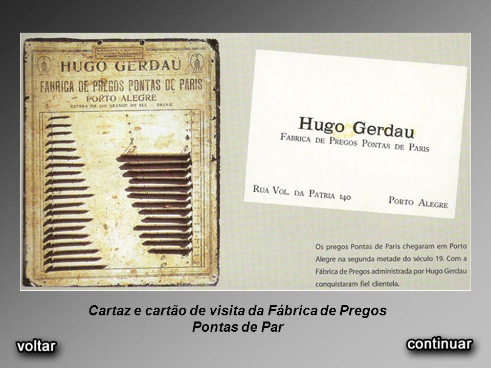 Cartaz e cartão de visita da Fábrica de Pregos Pontas de Par