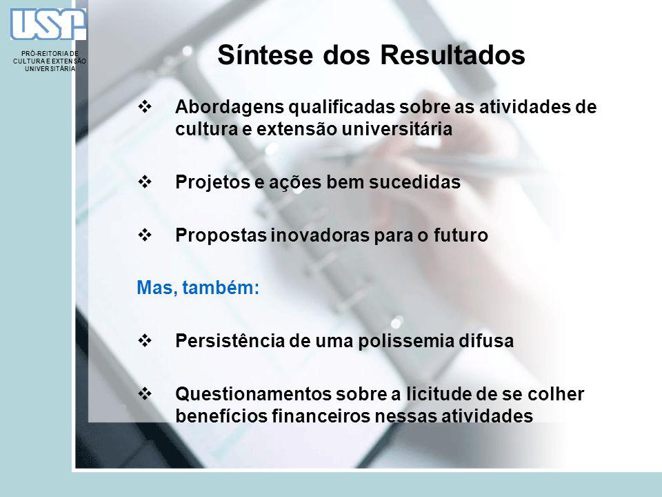 Síntese dos Resultados Abordagens qualificadas sobre as atividades de cultura e extensão universitária Projetos e ações bem sucedidas Propostas inovad