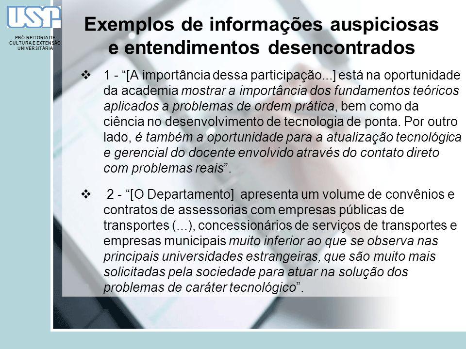 Exemplos de informações auspiciosas e entendimentos desencontrados 1 - [A importância dessa participação...] está na oportunidade da academia mostrar