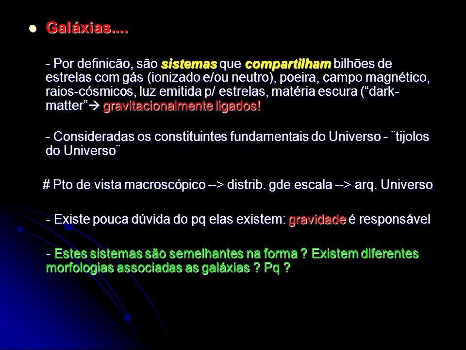 Sistemas de Classificação Morfológico - Vários sistemas conhecidos Morgan (58), van den Bergh (60), de - Vários sistemas conhecidos Morgan (58), van den Bergh (60), de Vaucouleurs (63), Hubble – SCH (26 - 36), conhecido também como Diagrama ¨Tuning-Fork¨ (D-TF): E, S, Lenticulares (SO), Irregulares (Irr)