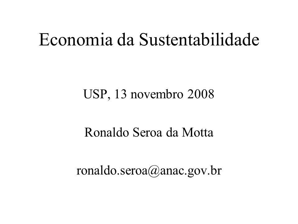 Economia da Sustentabilidade USP, 13 novembro 2008 Ronaldo Seroa da Motta ronaldo.seroa@anac.gov.br