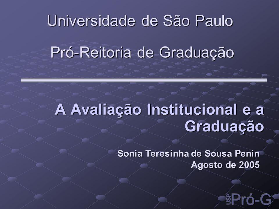 Pró-Reitoria de Graduação A Avaliação Institucional e a Graduação A Avaliação Institucional e a Graduação Universidade de São Paulo Sonia Teresinha de