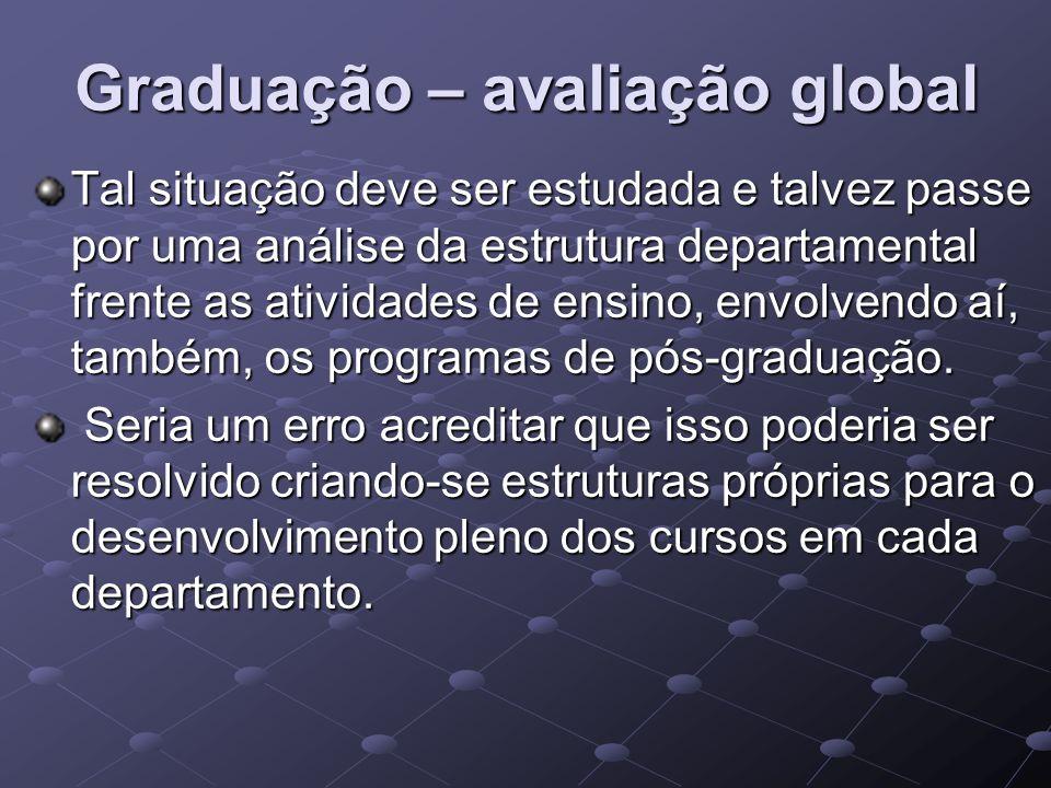 Graduação – avaliação global Tal situação deve ser estudada e talvez passe por uma análise da estrutura departamental frente as atividades de ensino,