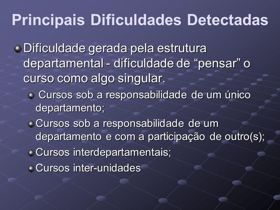 Principais Dificuldades Detectadas Dificuldade gerada pela estrutura departamental - dificuldade de pensar o curso como algo singular. Cursos sob a re