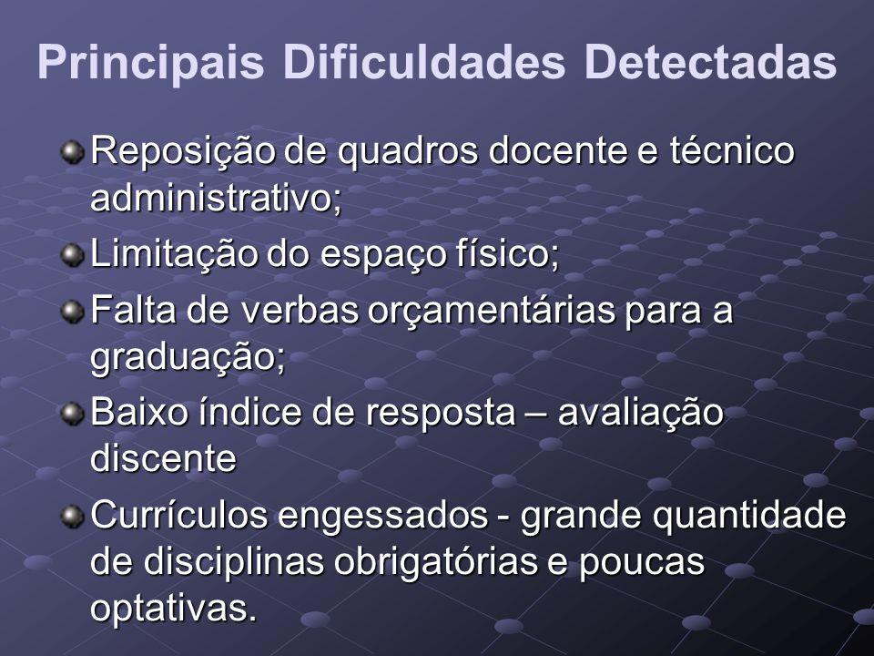 Principais Dificuldades Detectadas Reposição de quadros docente e técnico administrativo; Limitação do espaço físico; Falta de verbas orçamentárias pa