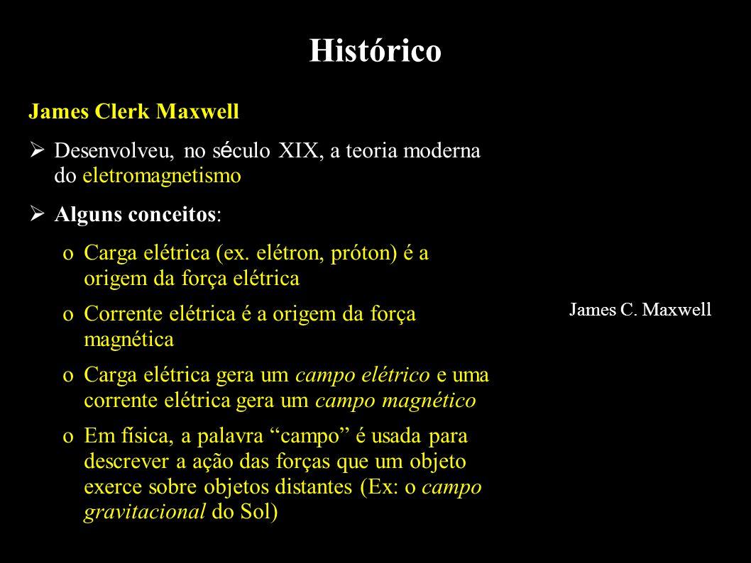 Histórico James Clerk Maxwell Desenvolveu, no s é culo XIX, a teoria moderna do eletromagnetismo Alguns conceitos: oCarga elétrica (ex. elétron, próto