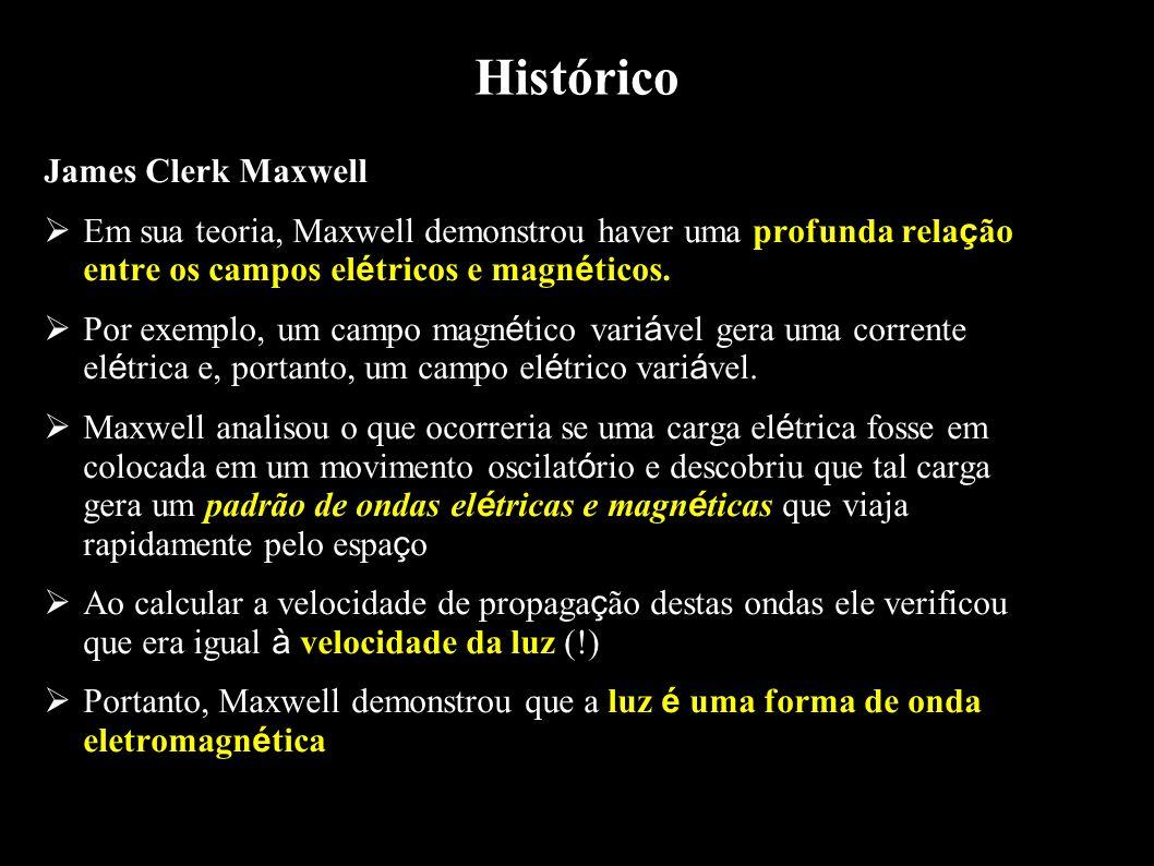 Histórico James Clerk Maxwell Em sua teoria, Maxwell demonstrou haver uma profunda rela ç ão entre os campos el é tricos e magn é ticos. Por exemplo,