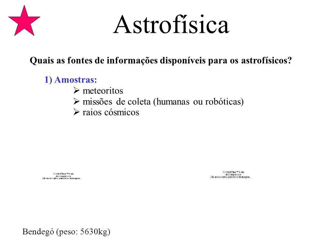 Astrofísica Quais as fontes de informações disponíveis para os astrofísicos? 1) Amostras: meteoritos missões de coleta (humanas ou robóticas) raios có