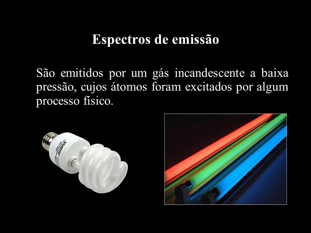 Espectros de emissão São emitidos por um gás incandescente a baixa pressão, cujos átomos foram excitados por algum processo físico.