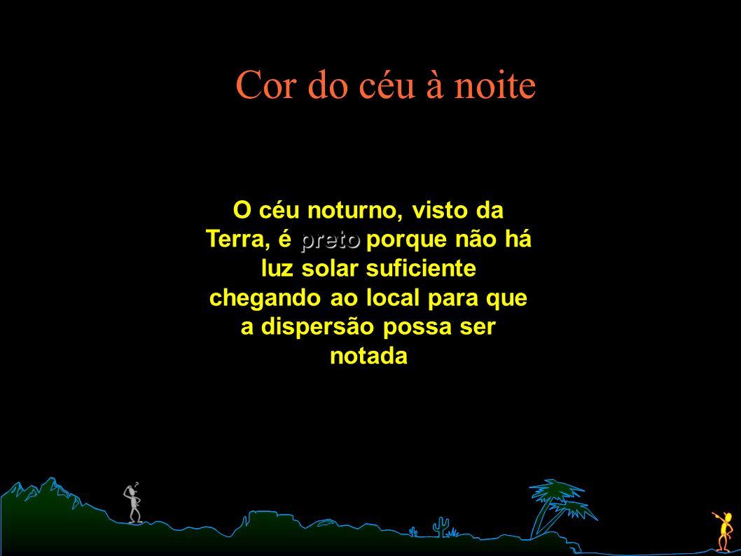 Cor do céu à noite preto O céu noturno, visto da Terra, é preto porque não há luz solar suficiente chegando ao local para que a dispersão possa ser no