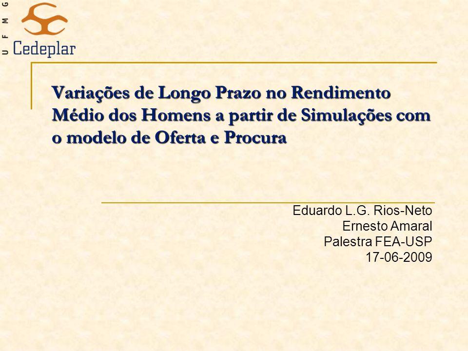 Variações de Longo Prazo no Rendimento Médio dos Homens a partir de Simulações com o modelo de Oferta e Procura Eduardo L.G. Rios-Neto Ernesto Amaral