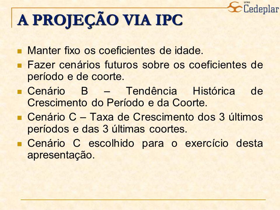 A PROJEÇÃO VIA IPC Manter fixo os coeficientes de idade. Fazer cenários futuros sobre os coeficientes de período e de coorte. Cenário B – Tendência Hi