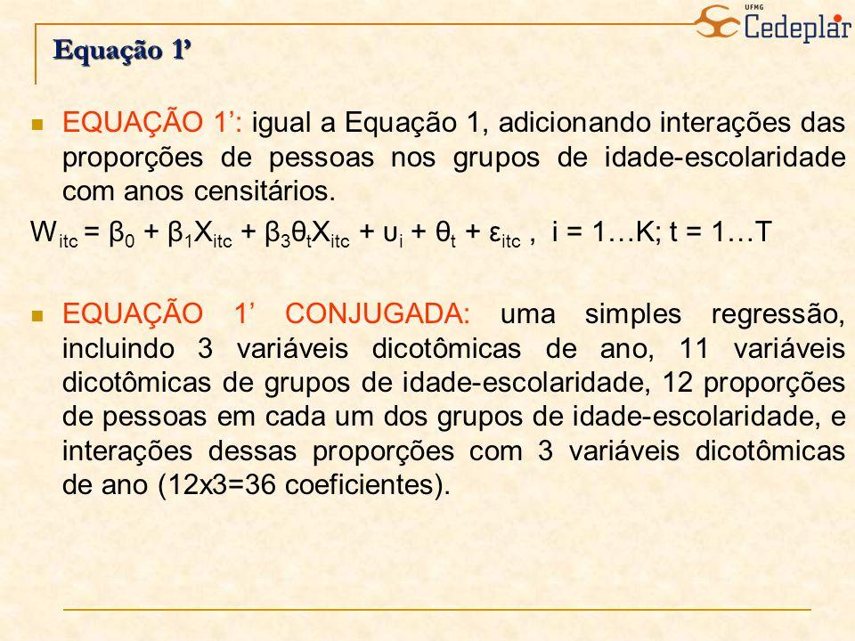Equação 1 EQUAÇÃO 1: igual a Equação 1, adicionando interações das proporções de pessoas nos grupos de idade-escolaridade com anos censitários. W itc
