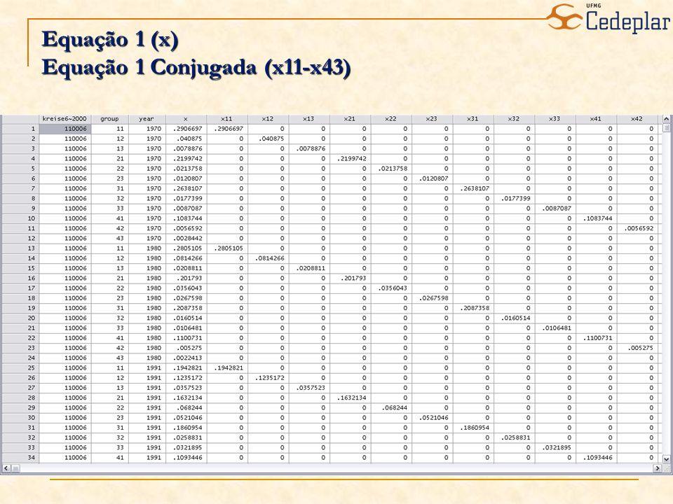 Equação 1 (x) Equação 1 Conjugada (x11-x43)