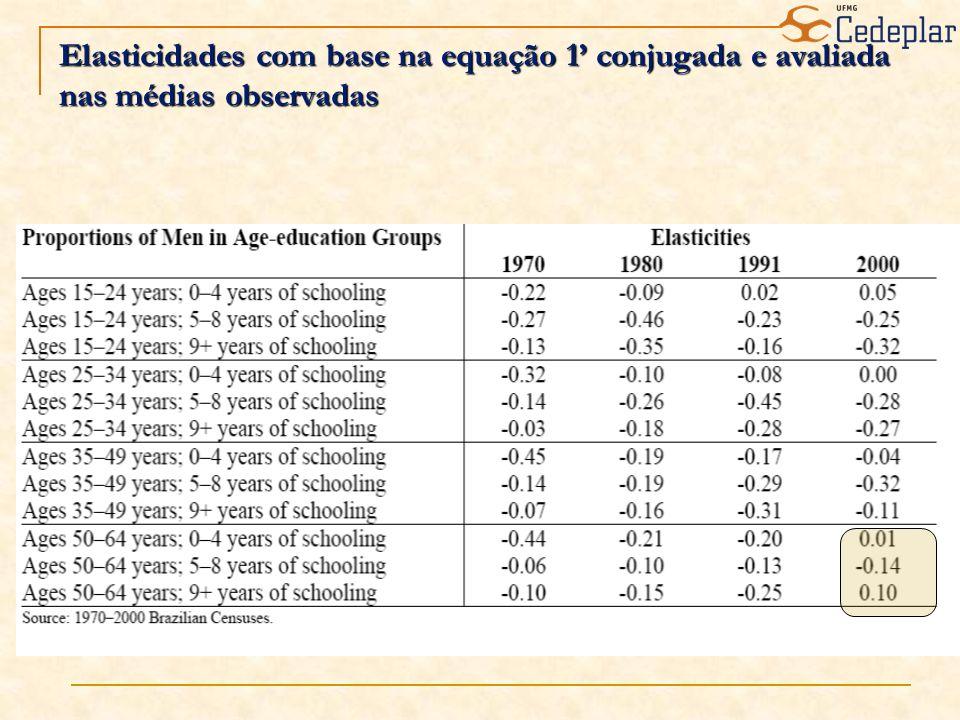 Elasticidades com base na equação 1 conjugada e avaliada nas médias observadas