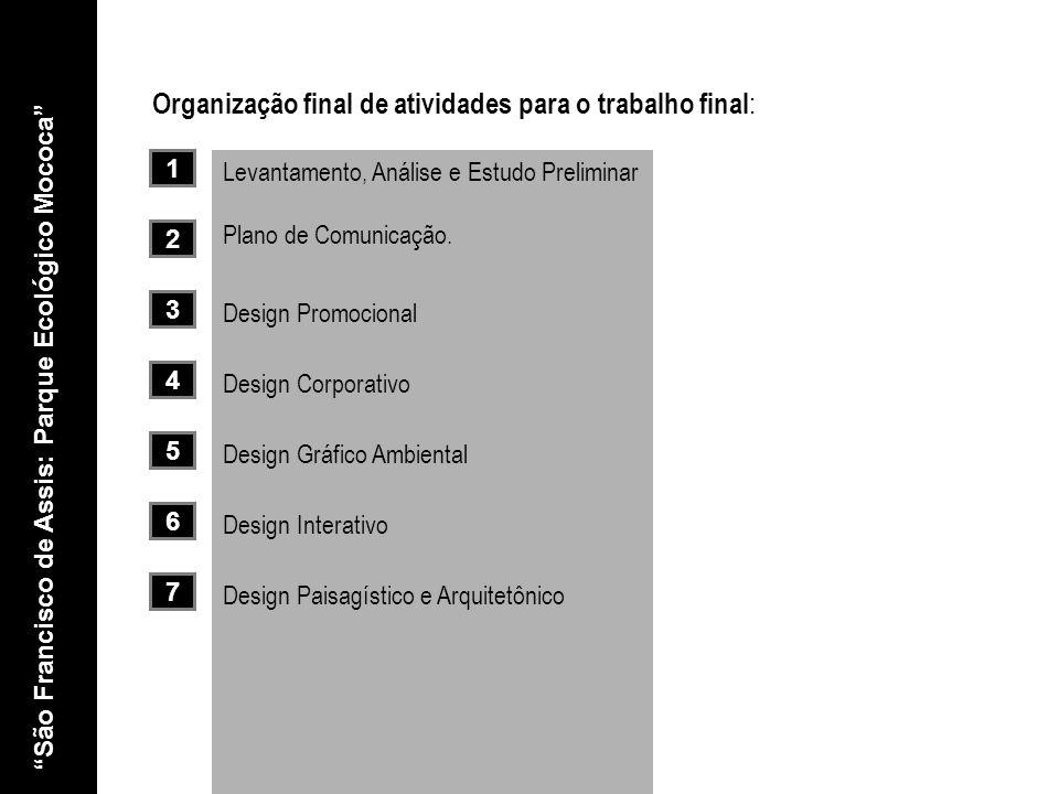 São Francisco de Assis: Parque Ecológico Mococa Levantamento, Análise e Estudo Preliminar Organização final de atividades para o trabalho final : 1 2