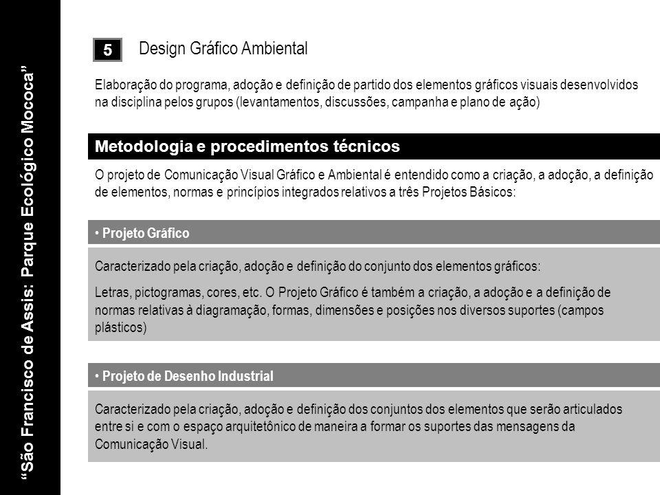5 Design Gráfico Ambiental Elaboração do programa, adoção e definição de partido dos elementos gráficos visuais desenvolvidos na disciplina pelos grup